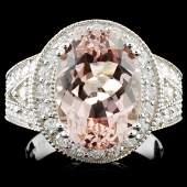 14K Gold 500ct Morganite 140ctw Diamond Ring
