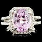 14K Gold 540ct Kunzite 044ctw Diamond Ring