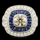 14K Gold 114ct Sapphire 182ctw Diamond Ring