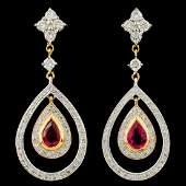 18K Gold 098ct Ruby 094ctw Diamond Earrings