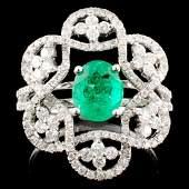 18K Gold 103ct Emerald 081ctw Diamond Ring