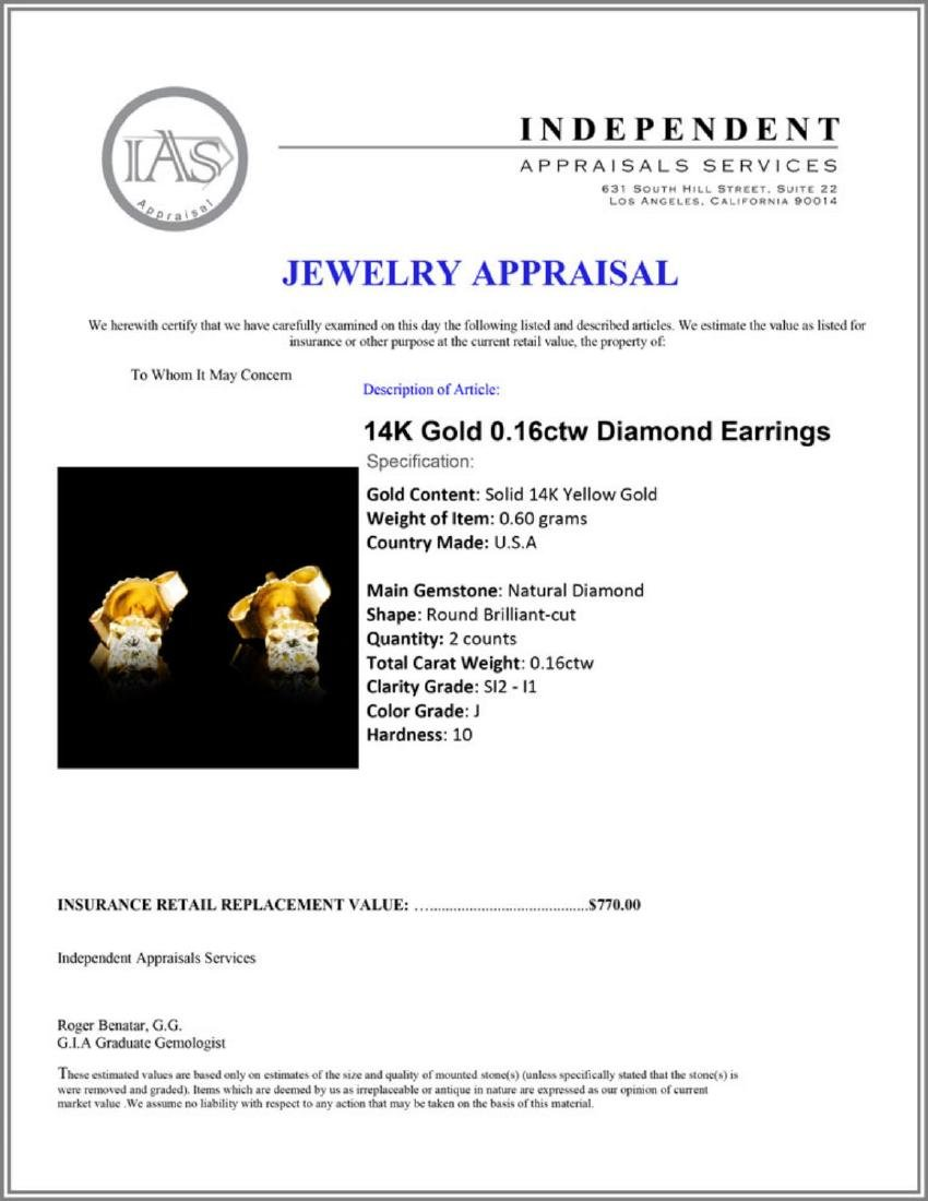 14K Gold 0.16ctw Diamond Earrings - 3