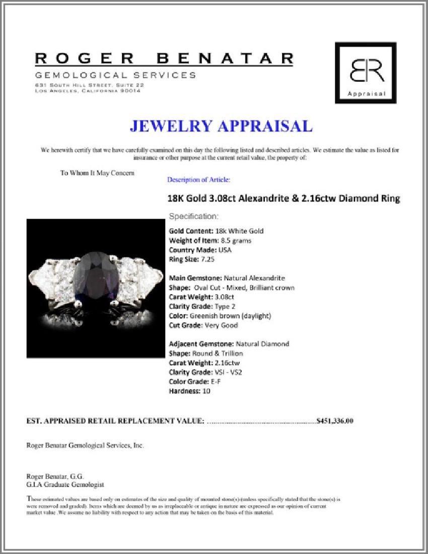 18K Gold 3.08ct Alexandrite & 2.16ctw Diamond Ring - 6