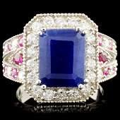 14K Gold 518ct Sapphire 084ctw Diamond Ring