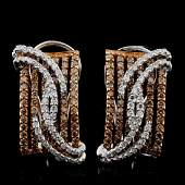14K White Gold 164ctw Fancy Color Diamond Earring