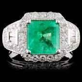 18K White Gold 213ct Emerald 111ct Diamond Rin