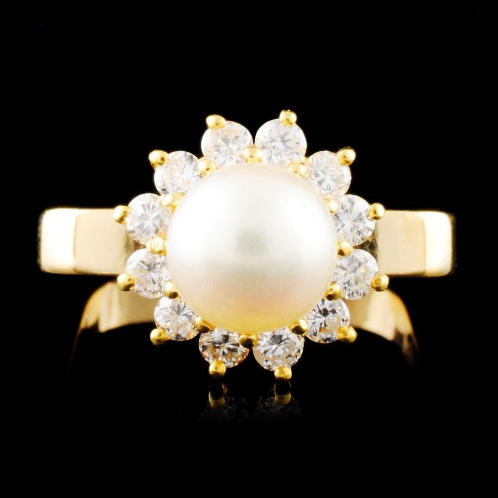 14K Gold 7.00MM Pearl & 0.42ctw Diamond Ring