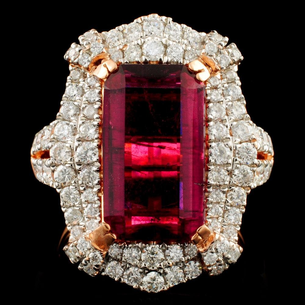 18K Gold 5.48ct Tourmaline & 1.54ctw Diamond Ring