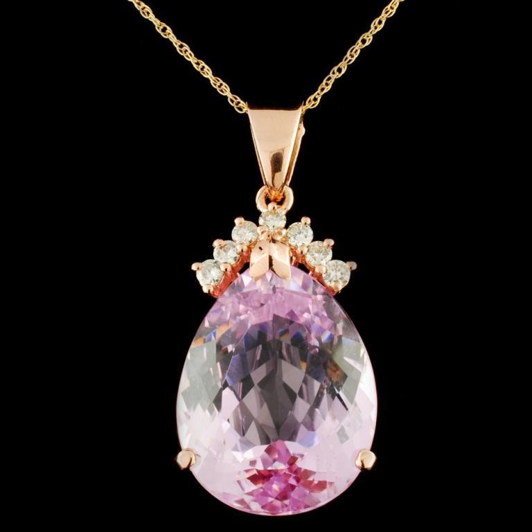 14K Gold 25.50ct Kunzite & 0.40ctw Diamond Pendant