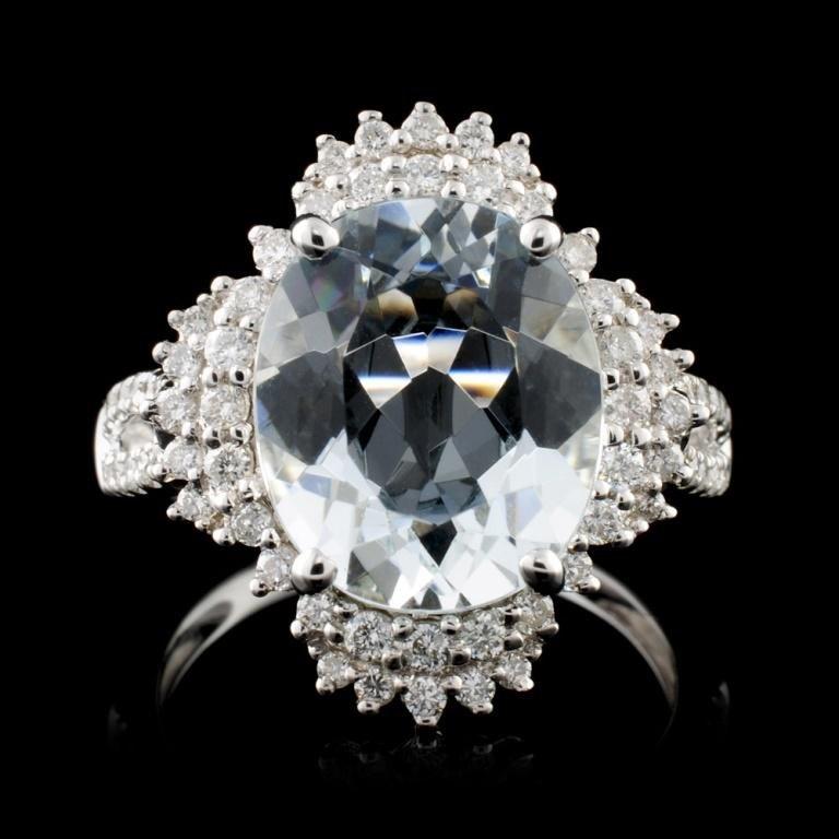 18K Gold 4.13ct Aquamarine & 0.54ct Diamond Ring
