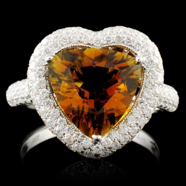 18K Gold 4.07ct Tourmaline & 1.10ctw Diamond Ring