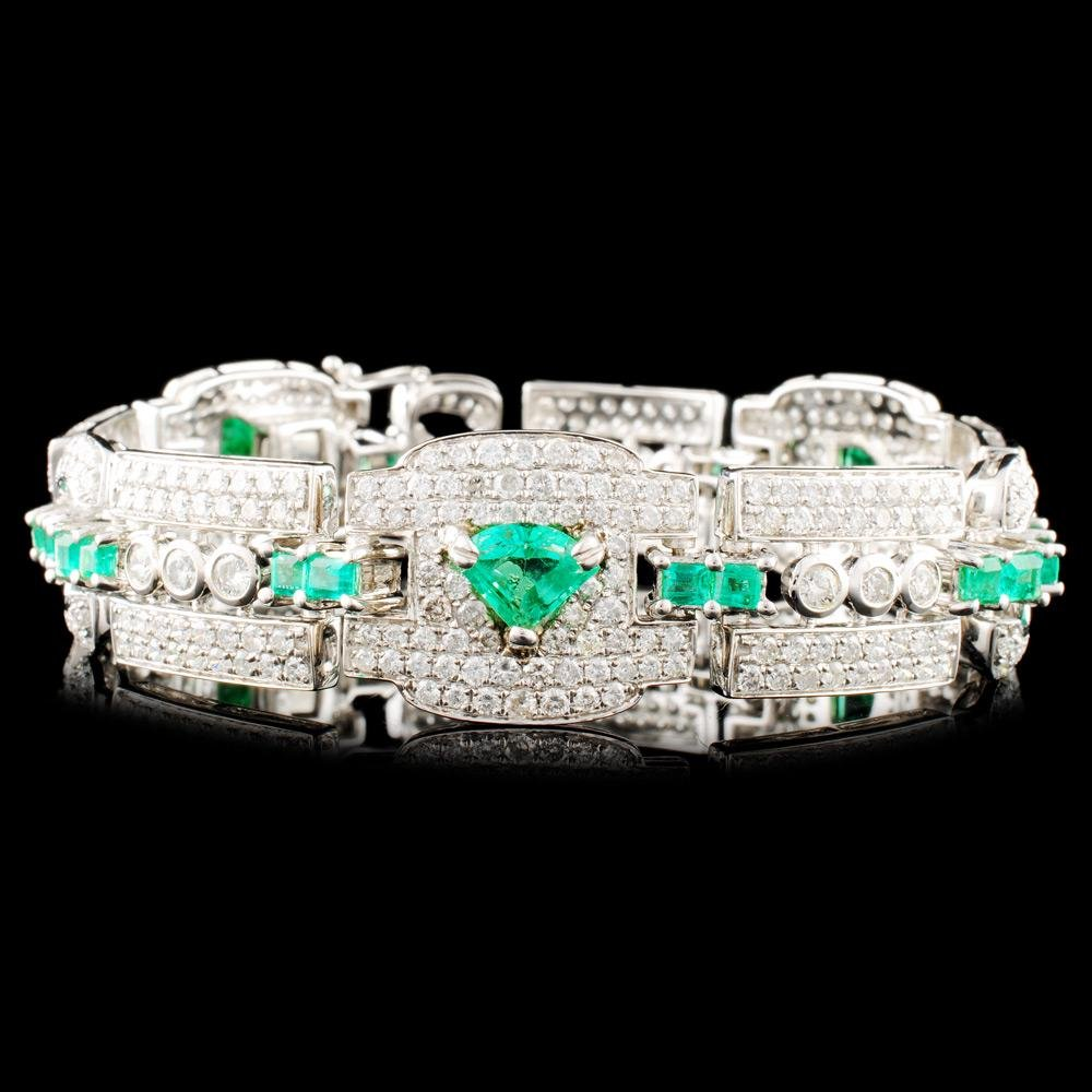 18K Gold 4.77ct Emerald & 7.70ctw Diamond Bracelet