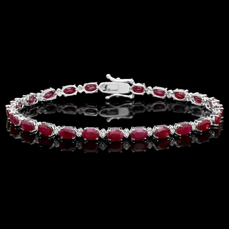 `14k Gold 14.00ct Ruby & 0.50ct Diamond Bracelet