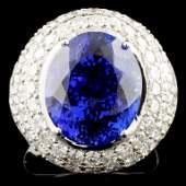 18K Gold 9.73ct Tanzanite & 3.14ctw Diamond Ring