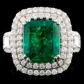18K Gold 6.09ct Emerald & 1.87ctw Diamond Ring