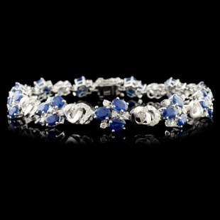 14K Gold 772ctw Sapphire 149ctw Diamond Bracel