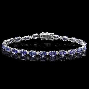 14k Gold 1000ct Tanzanite 050ct Diamond Brace