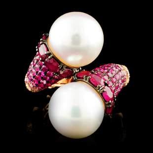 18K Gold 1300MM Pearl 048ctw Diamond Ring