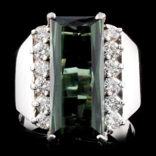 14K Gold 401ct Tourmaline 048ctw Diamond Ring