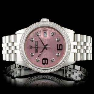 Rolex SS 36MM DateJust Diamond Wristwatch