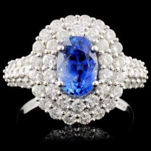 18K White Gold 190ct Sapphire 133ct Diamond Ri
