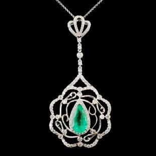 18K Gold 330ct Emerald 198ctw Diamond Pendant