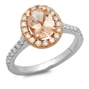 14K Gold 150ct Morganite 055ct Diamond Ring