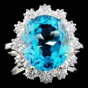 14K Gold 750ct Topaz 125ctw Diamond Ring