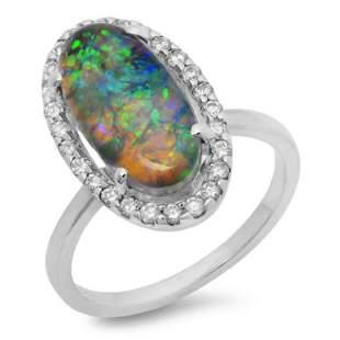 14K Gold 300ct Opal 035ct Diamond Ring
