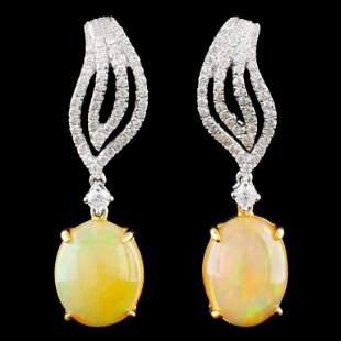 18K Gold 497ct Opal 051ctw Diamond Earrings