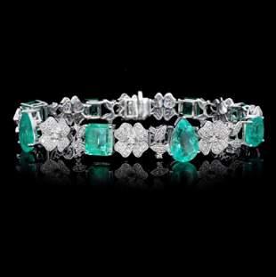 18K Gold 1456ct Emerald 216ct Diamond Bracelet