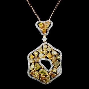 18K Gold 342ctw Fancy Color Diamond Pendant