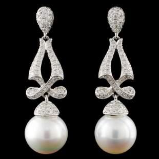 14K Gold South Sea Pearl 118ctw Diamond Earring