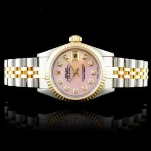 Rolex 18K SS DateJust Diamond Ladies Watch