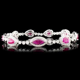 18K Gold 490ctw Ruby 157ctw Diamond Bracelet