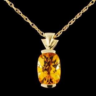 14K Gold 180ctw Topaz Pendant