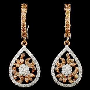 14K Gold 107ctw Fancy Color Diamond Earrings