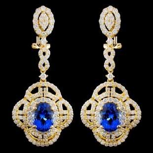 18K Gold 447ctw Tanzanite 302ctw Diamond Earri
