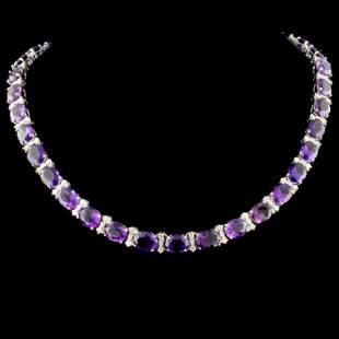 14K Gold 6180ctw Amethyst 258ctw Diamond Neckl