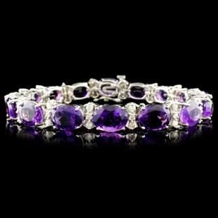 14K Gold 2680ctw Amethyst 115ctw Diamond Brace