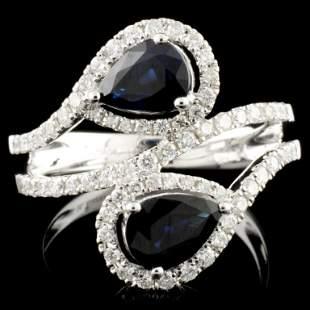 14K Gold 163ct Sapphire 060ctw Diamond Ring