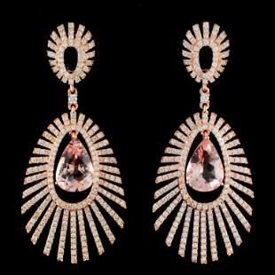 14K Gold 679ctw Morganite 355ctw Diamond Earri