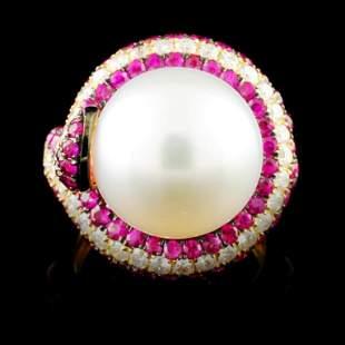 18K Gold 1350MM Pearl 078ctw Diamond Ring