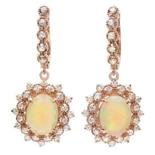 14K Gold 400ct Opal 140ct Diamond Earrings