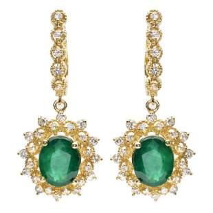 14K Gold 500ct Emerald 125ct Diamond Earrings