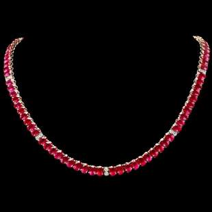 14k Gold 5400ct Ruby 135ct Diamond Necklace