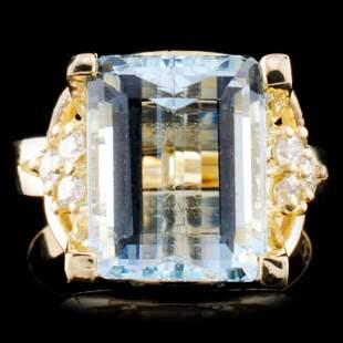 14K Gold 602ct Aquamarine 029ctw Diamond Ring