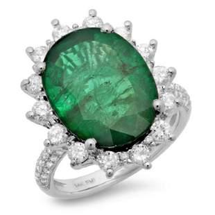 14K Gold 850ct Emerald 115ct Diamond Ring