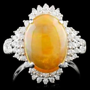 18K Gold 275ct Opal 052ctw Diamond Ring