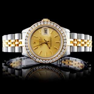 Rolex YG/SS DateJust Diamond Ladies Watch